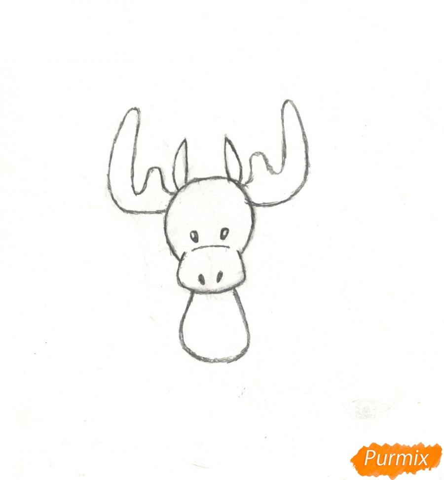 Рисуем новогоднего лося карандашами - шаг 5
