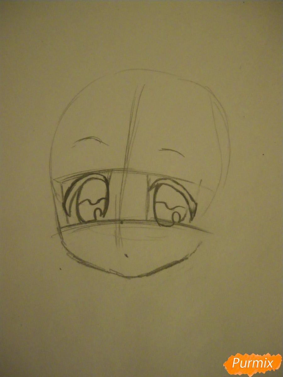 Рисуем новогоднюю чиби девочку в шапке деда мороза - шаг 2