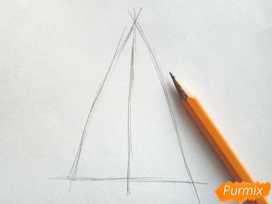 Рисуем новогоднюю елку с гирляндами - шаг 1