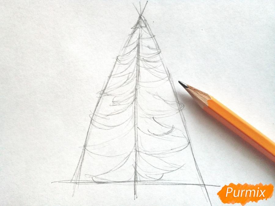 Рисуем новогоднюю елку с гирляндами - шаг 2