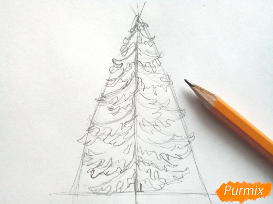 Рисуем новогоднюю елку с гирляндами - шаг 3
