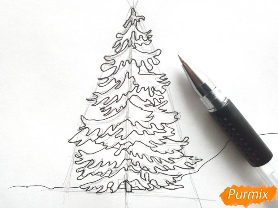Рисуем новогоднюю елку с гирляндами - шаг 4