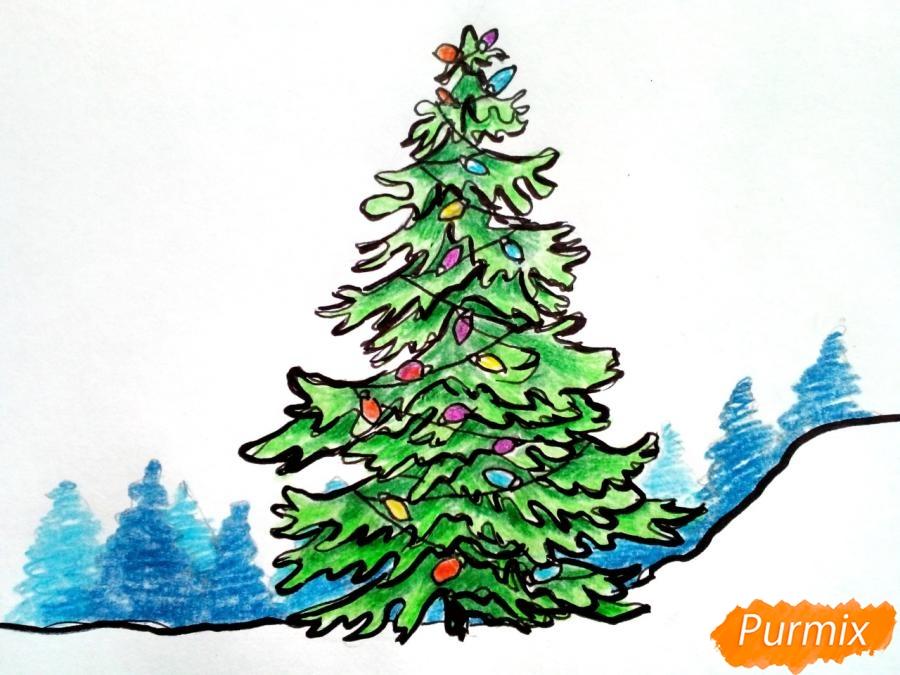 Рисуем новогоднюю елку с гирляндами - шаг 8