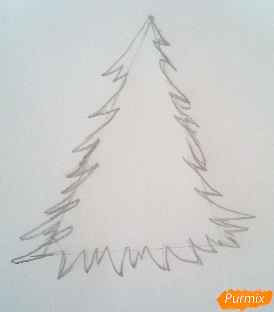 Рисуем новогоднюю ёлку с подарками - шаг 2