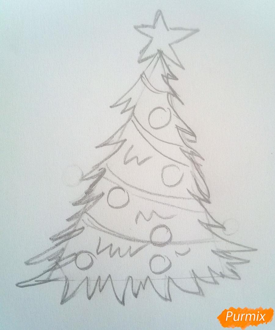 Рисуем новогоднюю ёлку с подарками - шаг 3