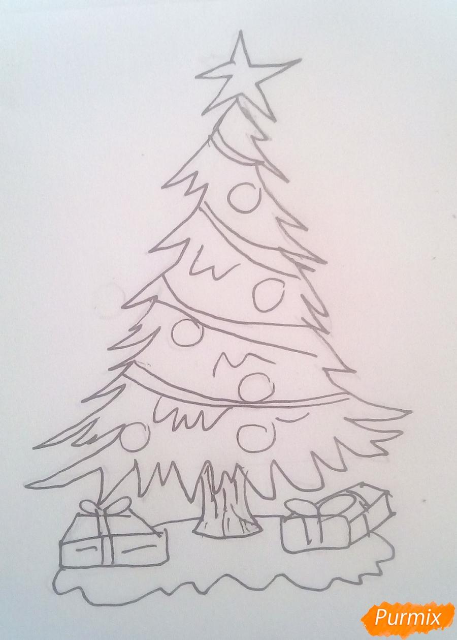 Рисуем новогоднюю ёлку с подарками - шаг 5