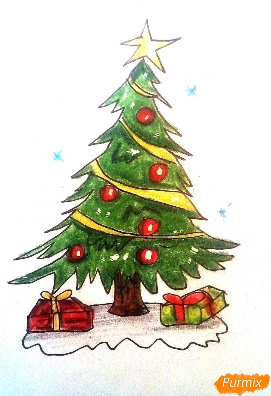 Рисуем новогоднюю ёлку с подарками - шаг 9