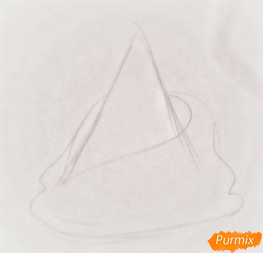 Рисуем ёлку в одеяле с чашкой кофе - шаг 1