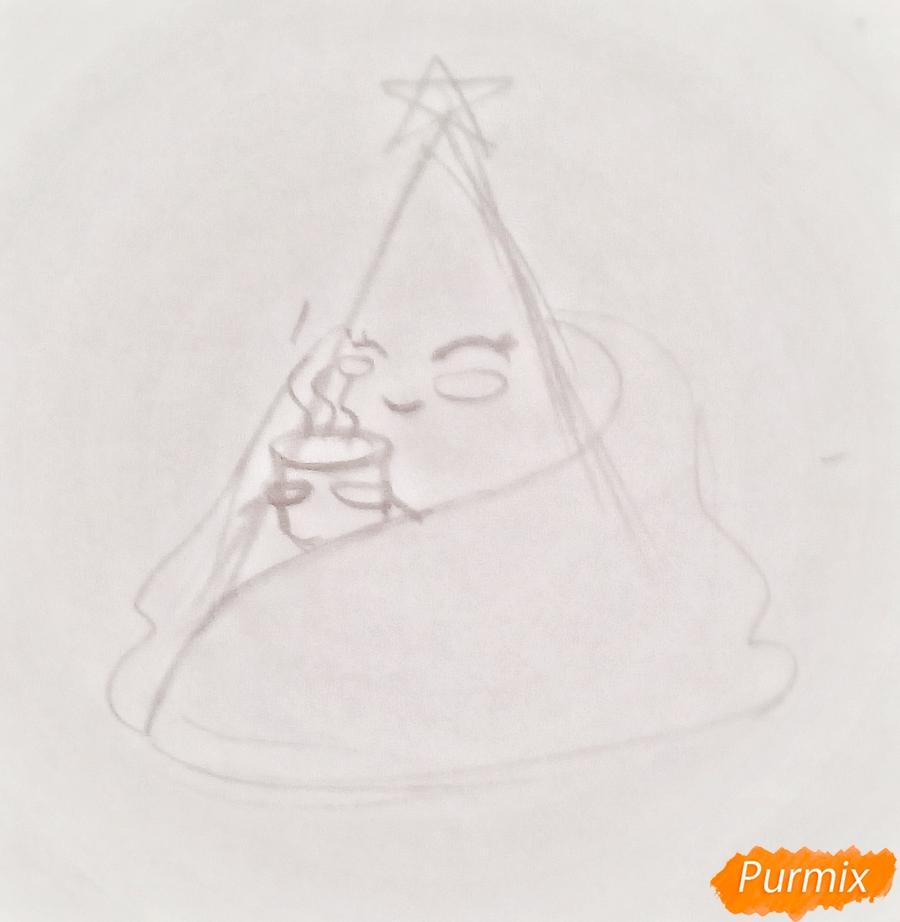 Рисуем ёлку в одеяле с чашкой кофе - шаг 2