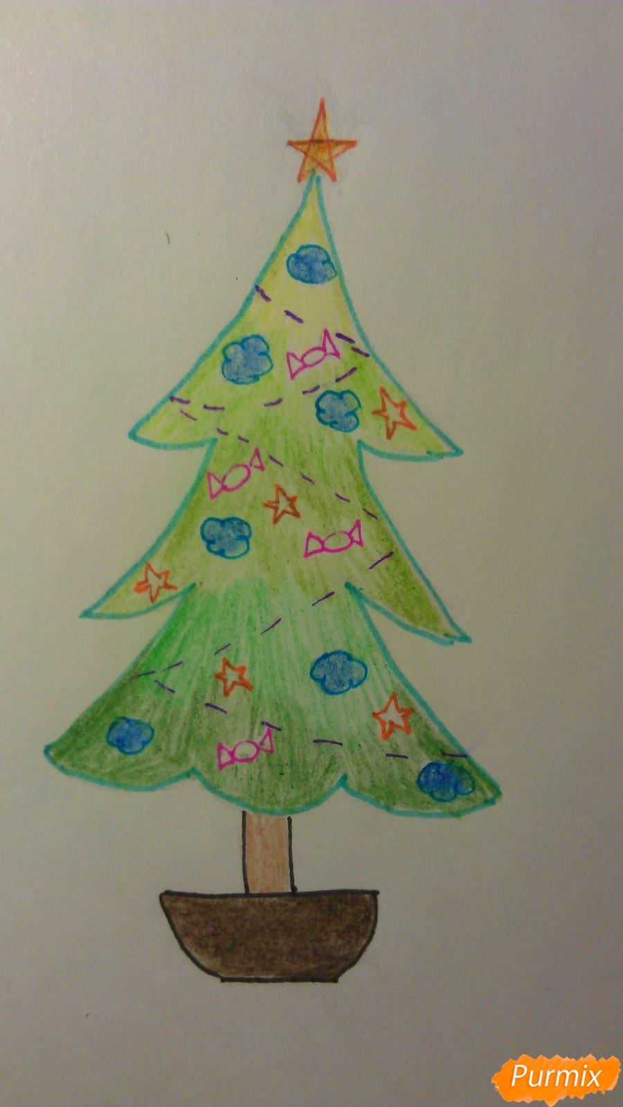 Рисуем ёлочку с игрушками для детей на новый год - шаг 12