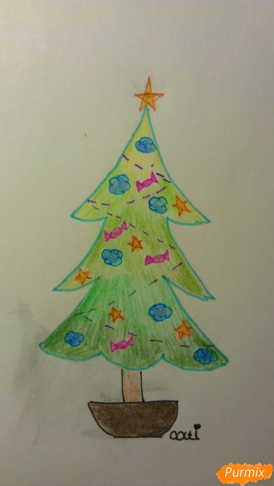 Рисуем ёлочку с игрушками для детей на новый год - шаг 13