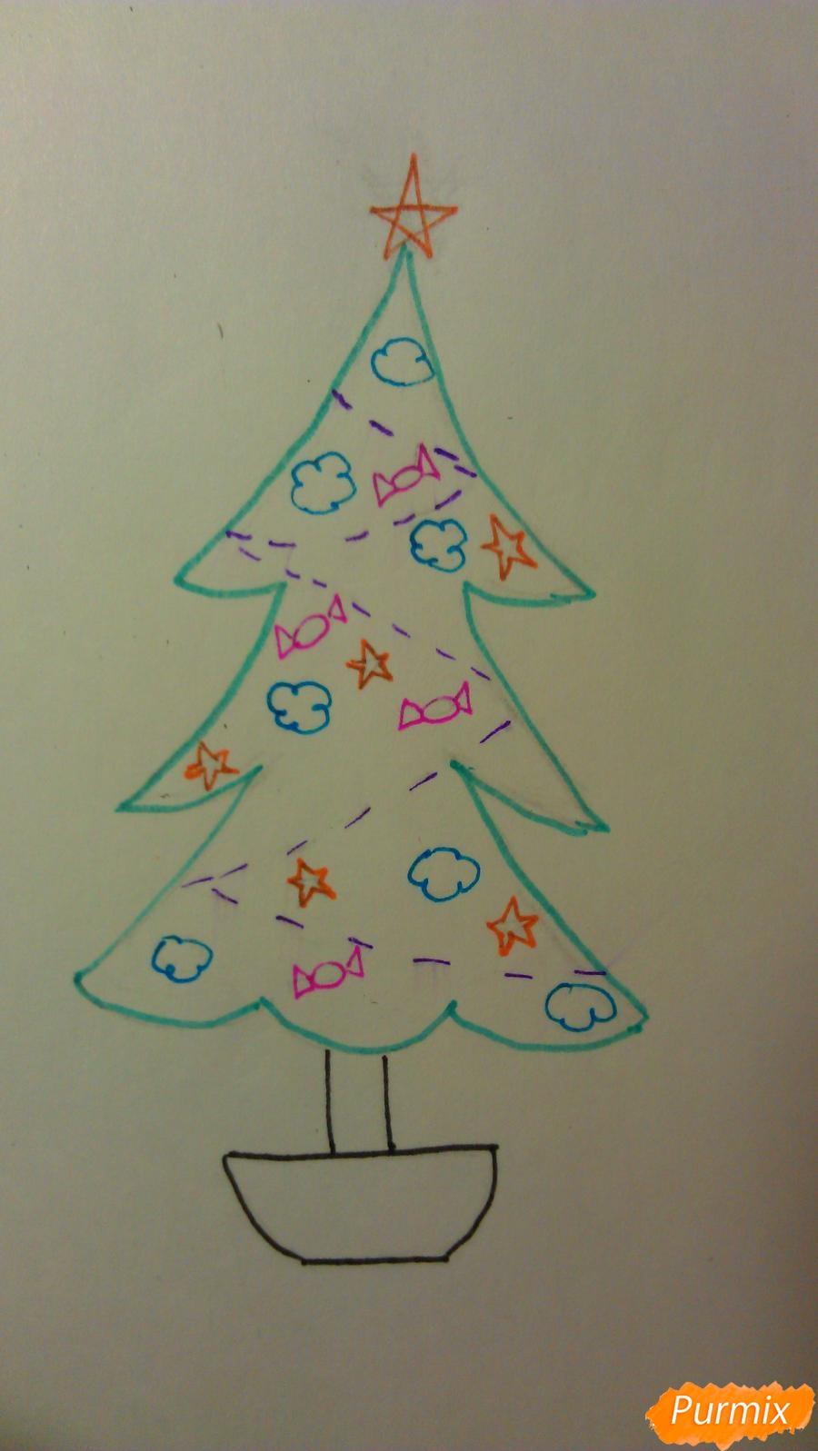 Рисуем ёлочку с игрушками для детей на новый год - шаг 8