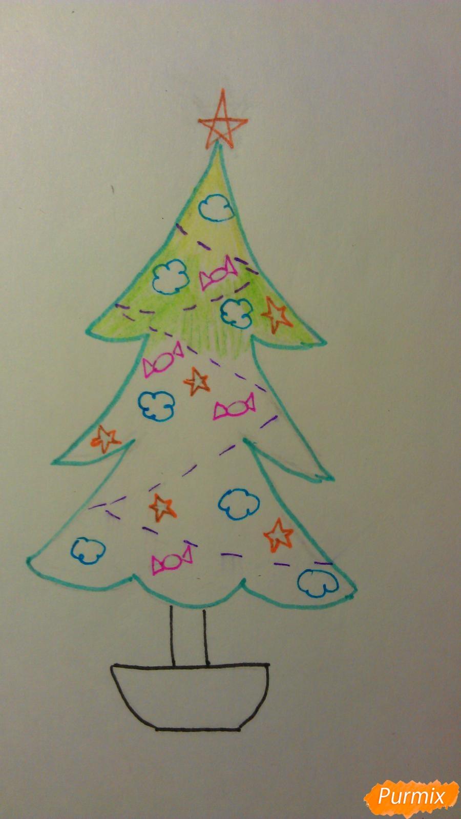 Рисуем ёлочку с игрушками для детей на новый год - шаг 9