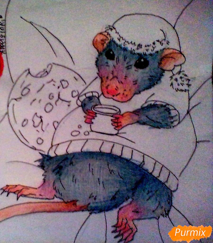Рисуем новогоднюю крысу - шаг 6