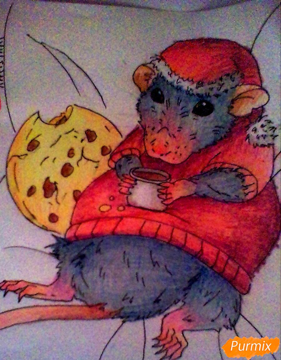 Рисуем новогоднюю крысу - шаг 7