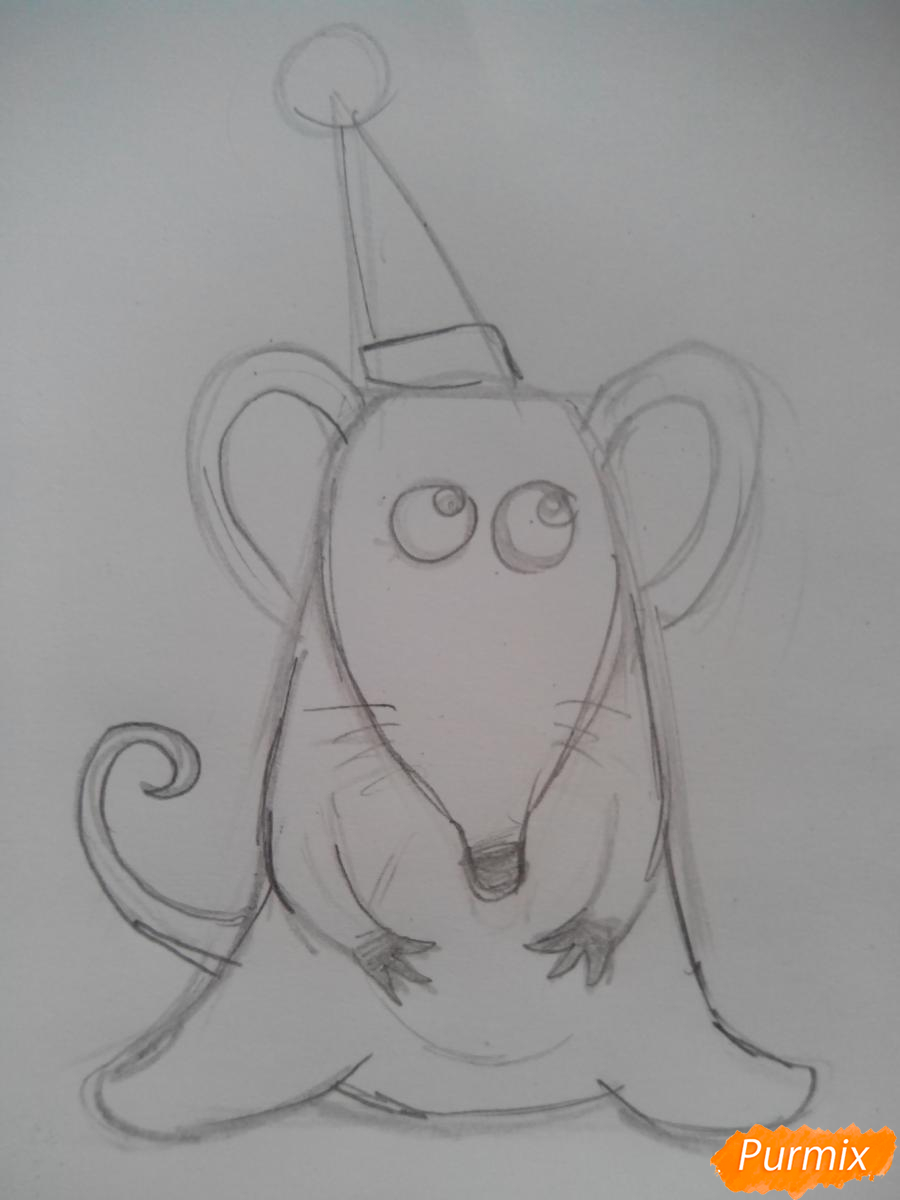 Рисуем новогоднюю крысу - шаг 3