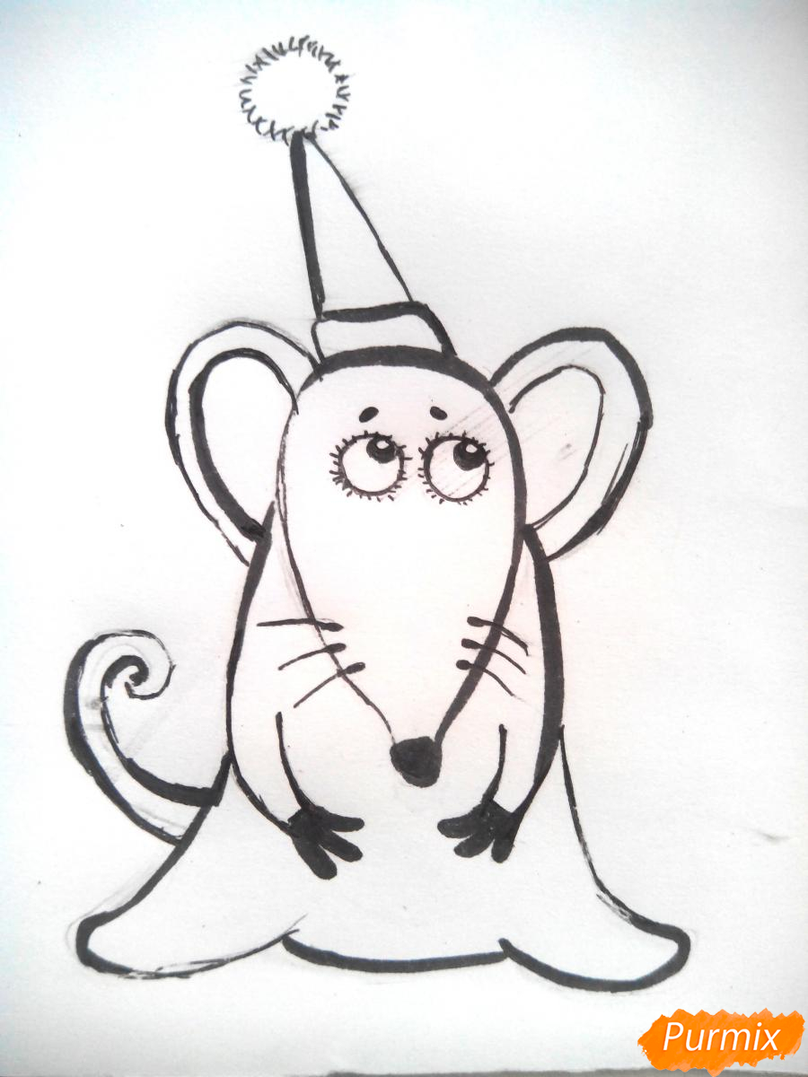 Рисуем новогоднюю крысу - шаг 4