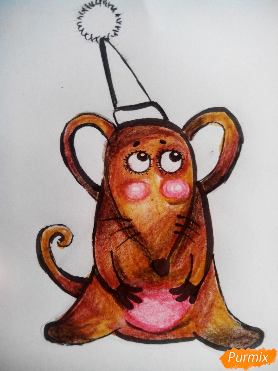 Рисуем новогоднюю крысу - шаг 5