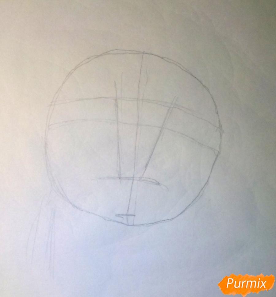 Рисуем новогоднюю собачку цветными карандашами - шаг 1