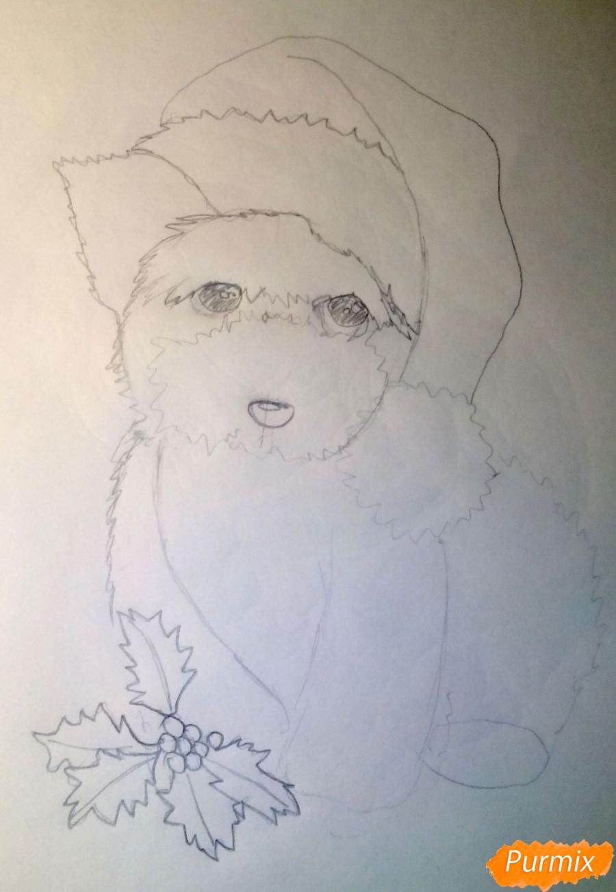 Рисуем новогоднюю собачку цветными карандашами - шаг 4