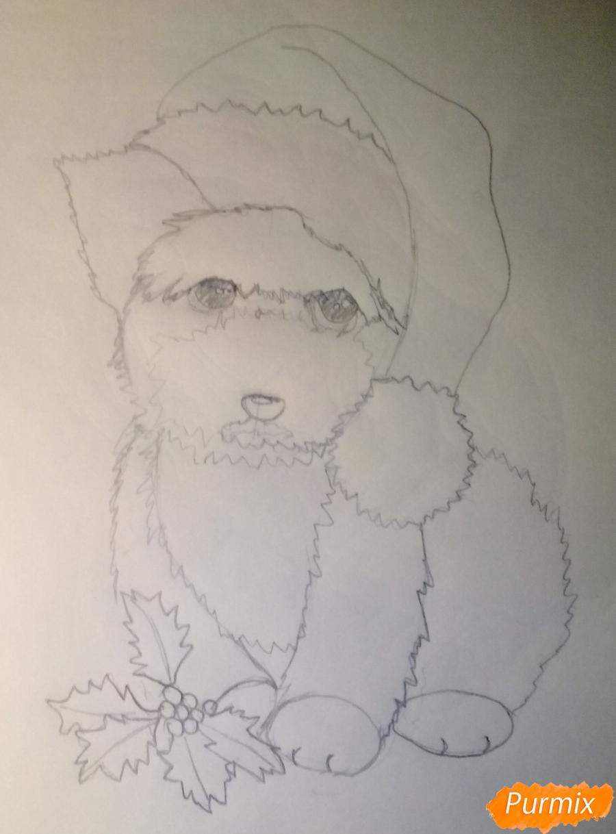 Рисуем новогоднюю собачку цветными карандашами - шаг 5
