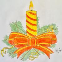 новогоднюю свечу карандашом