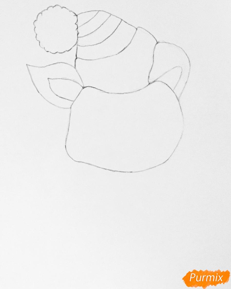 Рисуем новогоднюю свинку на коньках и в шарфике - шаг 2