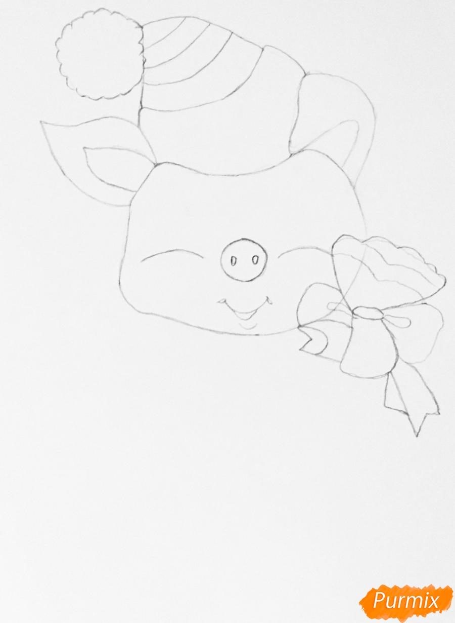 Рисуем новогоднюю свинку на коньках и в шарфике - шаг 3