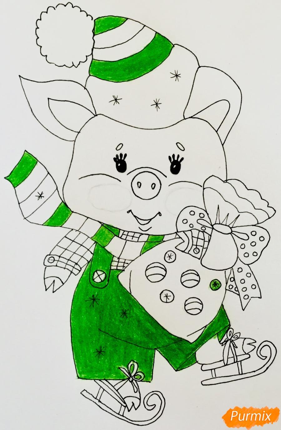 Рисуем новогоднюю свинку на коньках и в шарфике - шаг 7