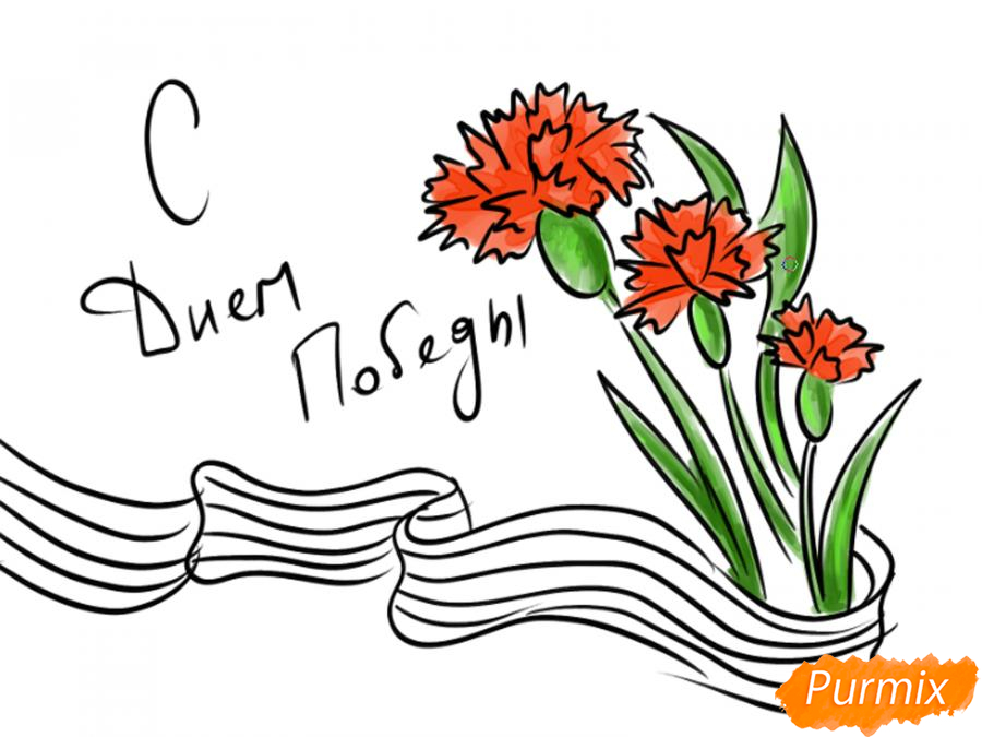 Рисуем открытку к 9 мая карандашами - шаг 7