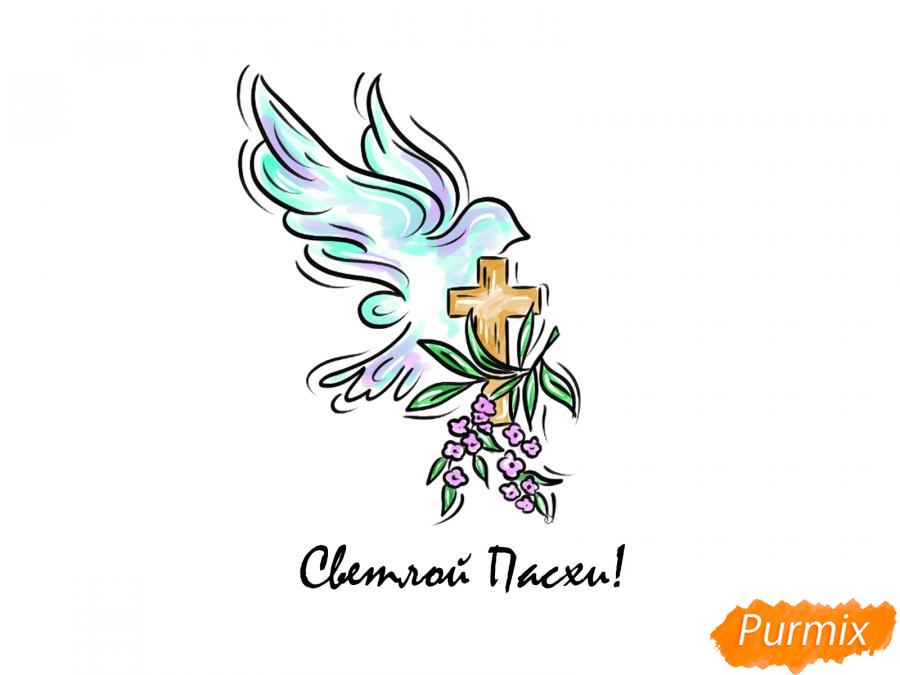 Рисуем открытку к празднику Пасхи карандашами или акварелью - шаг 4