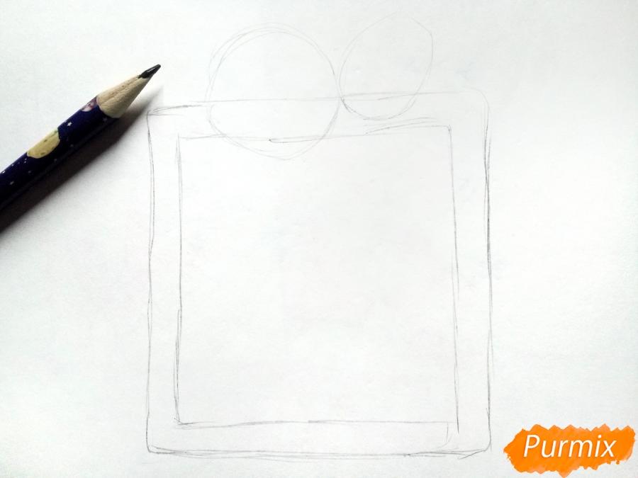 Рисуем открытку, письмо  Деду Морозу карандашами - шаг 1