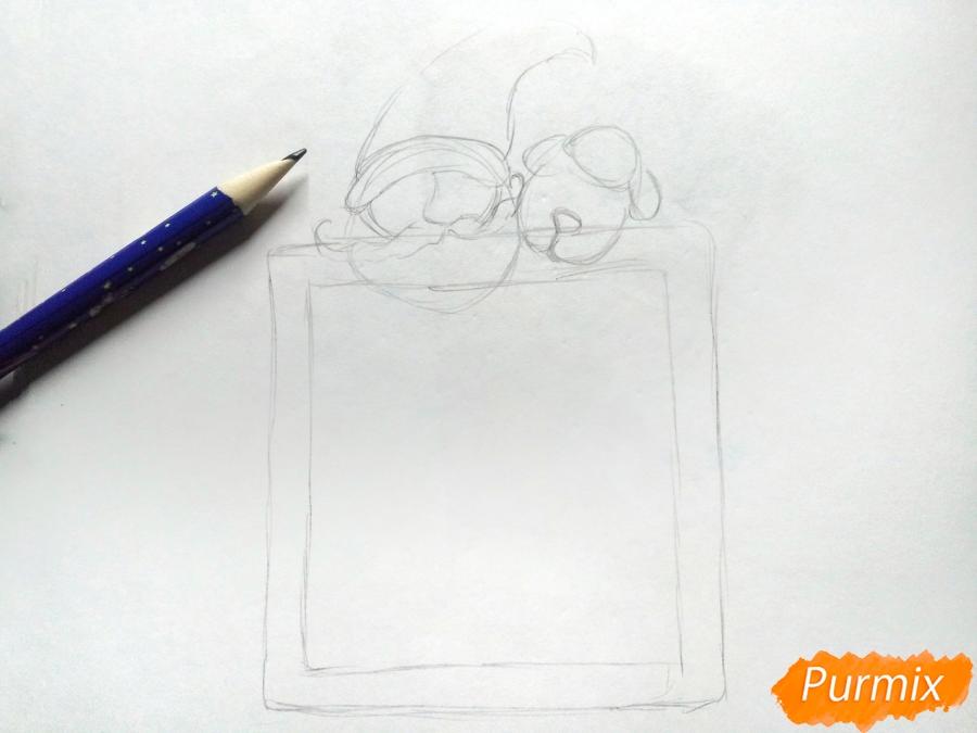 Рисуем открытку, письмо  Деду Морозу карандашами - шаг 2