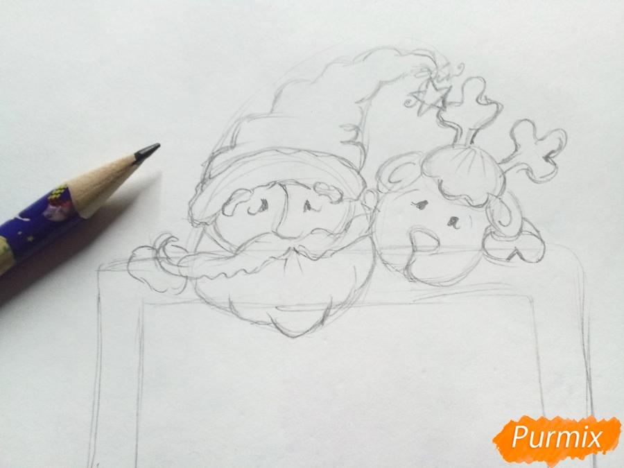 Рисуем открытку, письмо  Деду Морозу карандашами - шаг 3