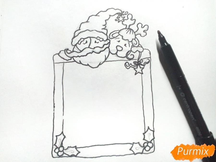 Рисуем открытку, письмо  Деду Морозу карандашами - шаг 5
