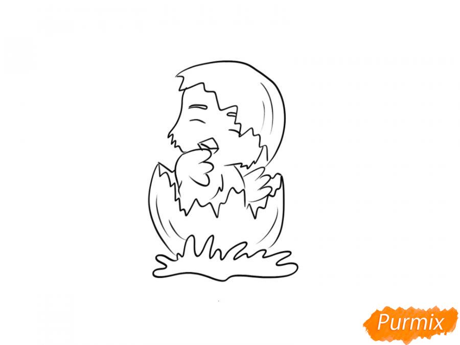 Рисуем цыпленка на Пасху карандашами или акварелью - шаг 5