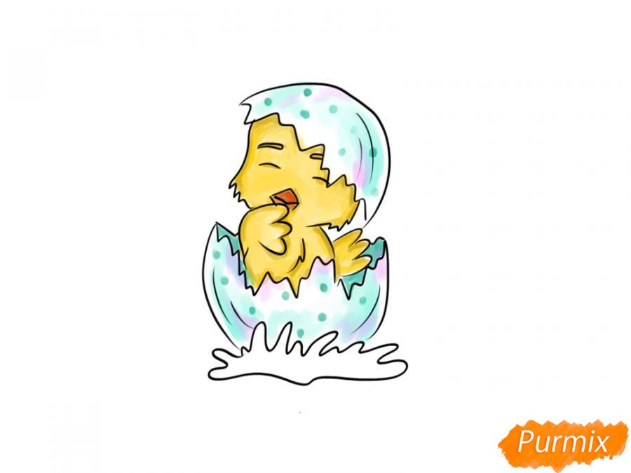 Рисуем цыпленка на Пасху карандашами или акварелью - шаг 7