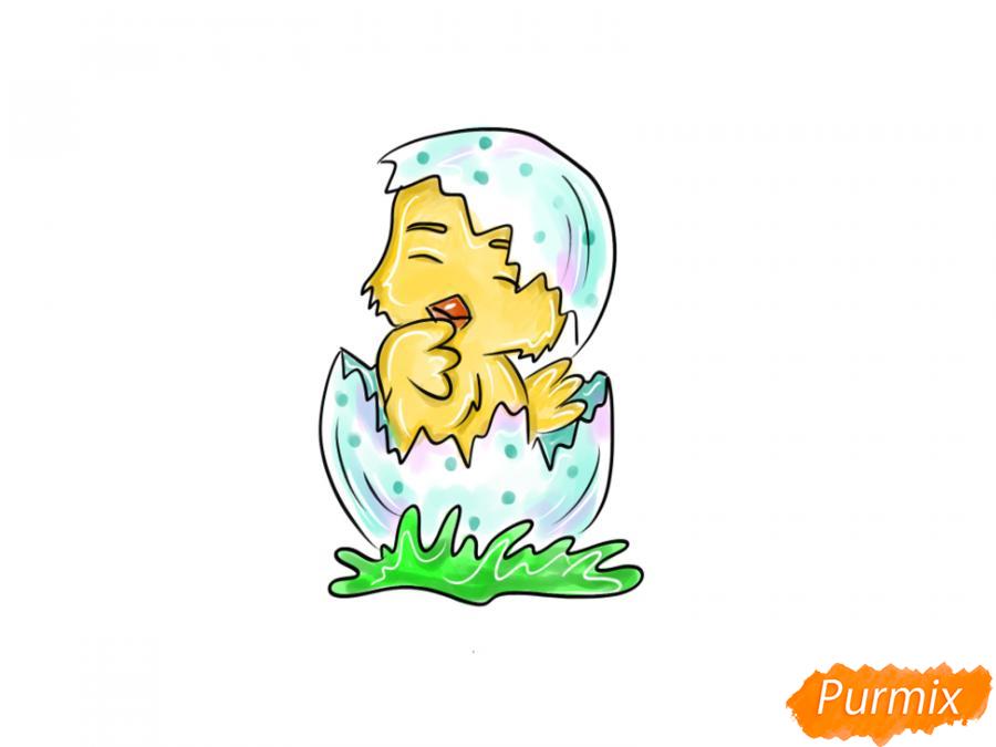 Рисуем цыпленка на Пасху карандашами или акварелью - шаг 8