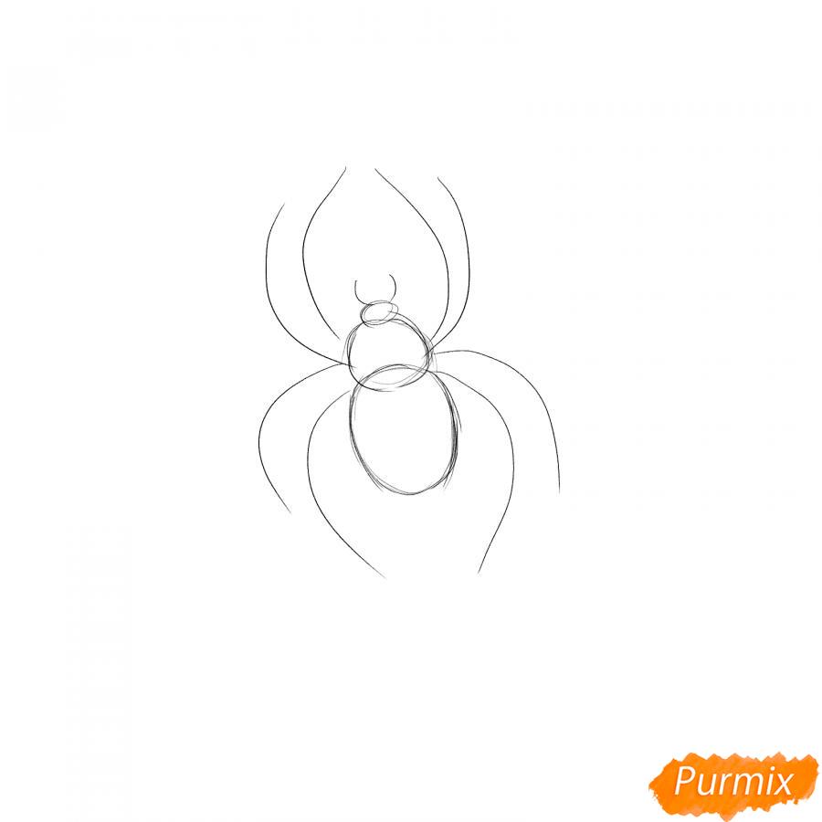 Рисуем паука на Хэллоуин карандашами - шаг 2
