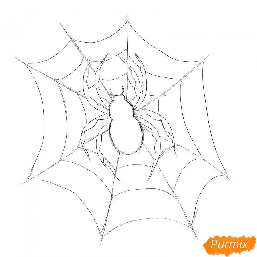 Рисуем паука на Хэллоуин карандашами - шаг 5