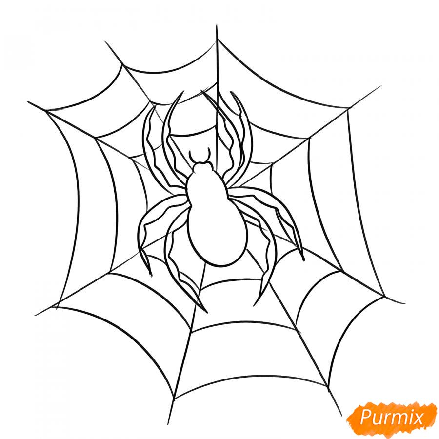 Рисуем паука на Хэллоуин карандашами - шаг 6
