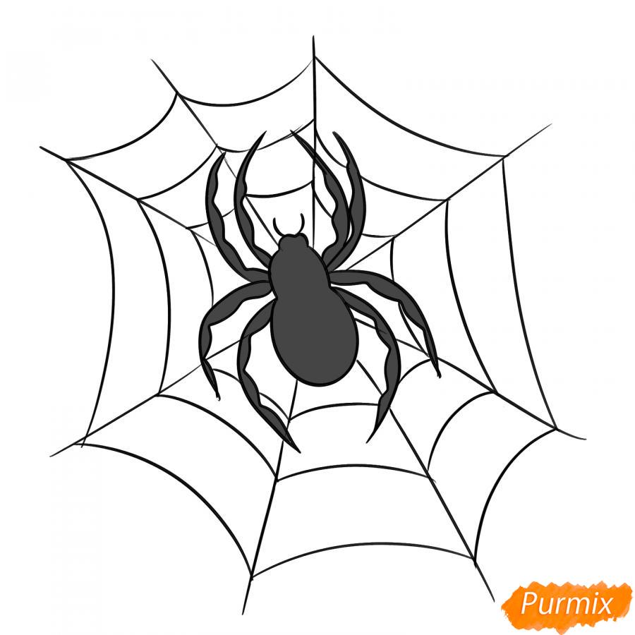 Рисуем паука на Хэллоуин карандашами - шаг 7