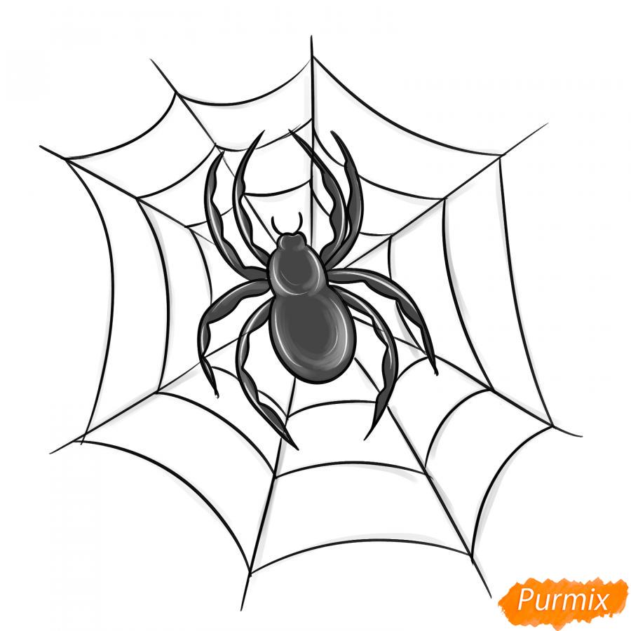 Рисуем паука на Хэллоуин карандашами - шаг 8