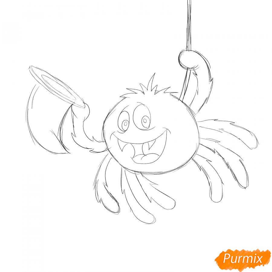 Рисуем паука с колпаком на Хэллоуин - шаг 4