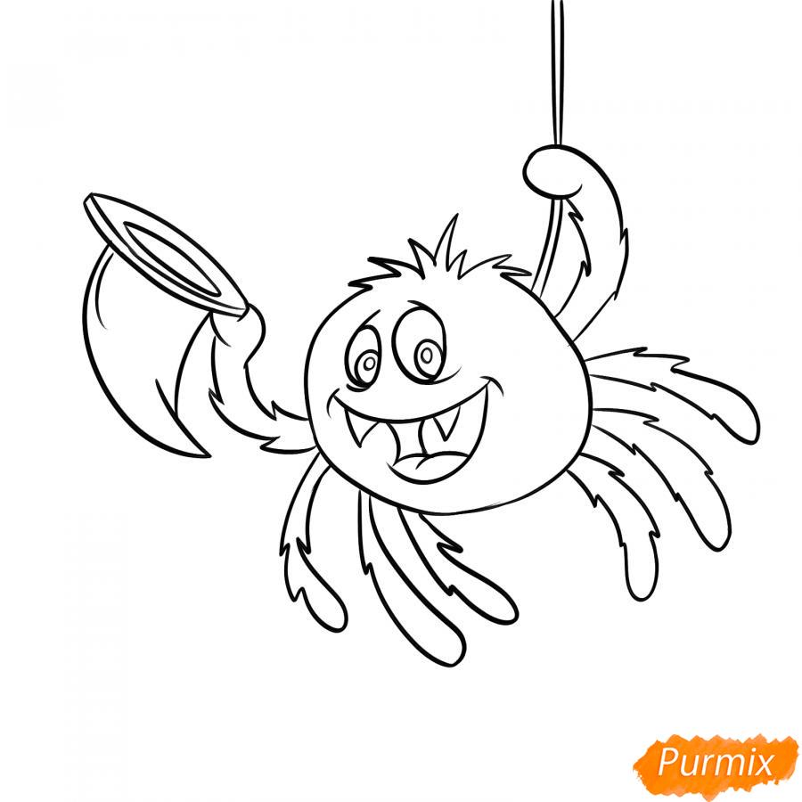 Рисуем паука с колпаком на Хэллоуин - шаг 5