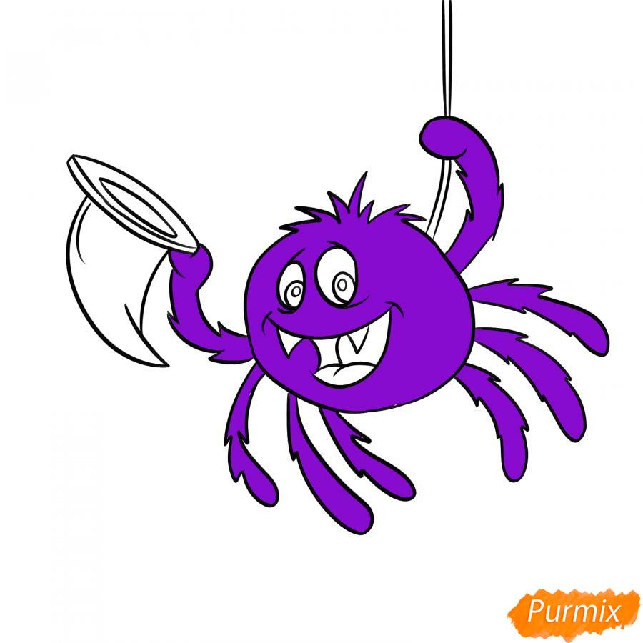 Рисуем паука с колпаком на Хэллоуин - шаг 6