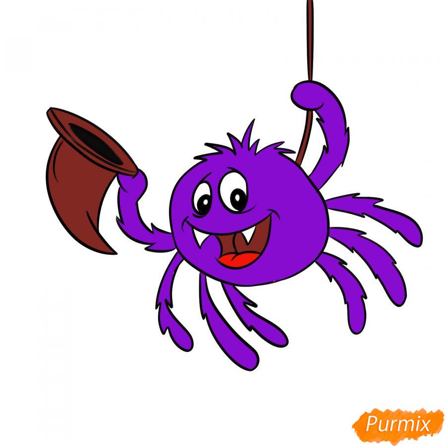 Рисуем паука с колпаком на Хэллоуин - шаг 7