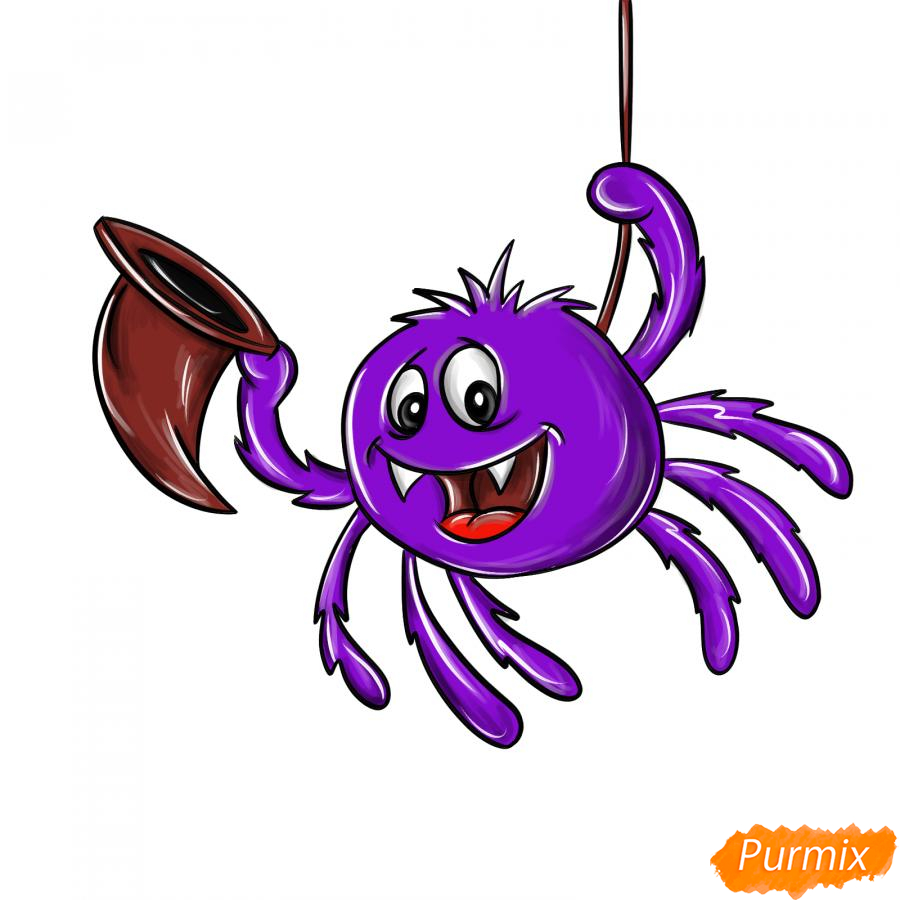Рисуем паука с колпаком на Хэллоуин - шаг 8