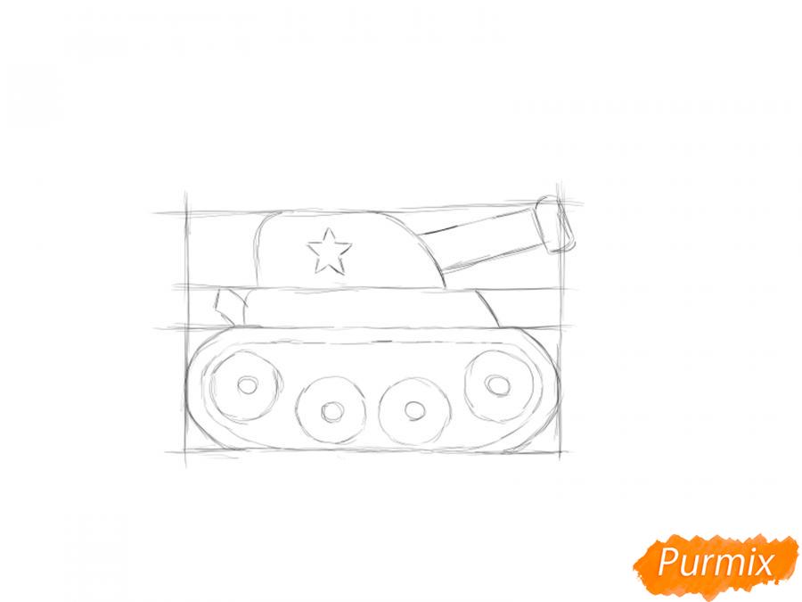Рисуем простой танк ребенку на 9 мая - шаг 4