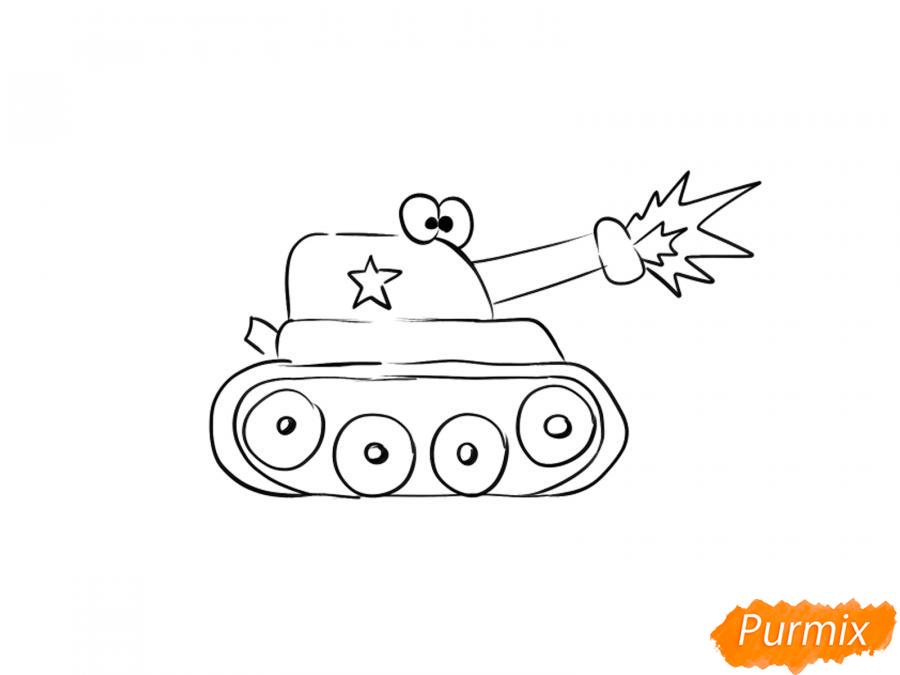 Рисуем простой танк ребенку на 9 мая - шаг 6